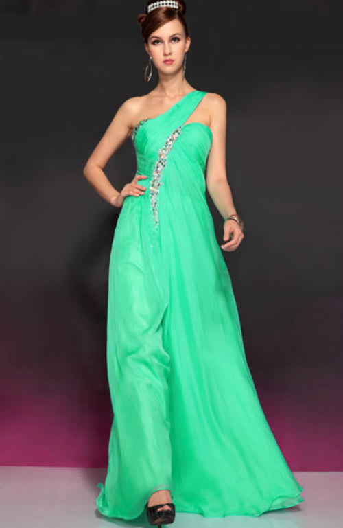 One Shoulder Beading A-Line Floor-Length Dress, Style Code: 10732, US$191.00