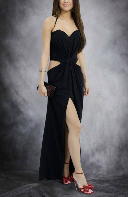 Front Gathered Waist Cutout Slip Prom Dress, Style Code: 11069, US$109.00