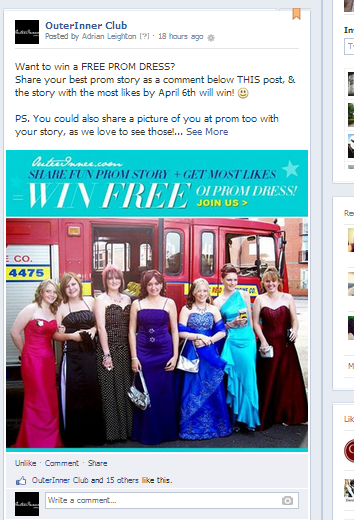 win a free prom dress contest on outerinner facebook page
