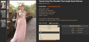how to see the size of the prom dress (style 03625)