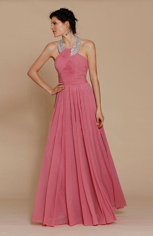 Beaded Halter Chiffon Ruching Top Prom Dress Style Code: 15445 On sale $211.65