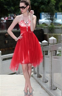 Red Beading Neckline Tulle Homecoming Dress, Style Code: 08785, US$159.00