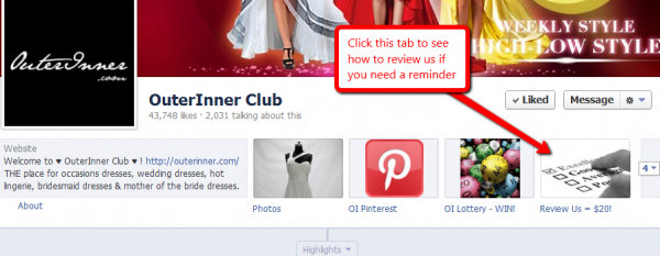 outerinner.com facebook page review tab
