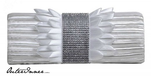 Rhinestone Belted Pleated Satin Clutch, Style Code: 08715, US$16.00