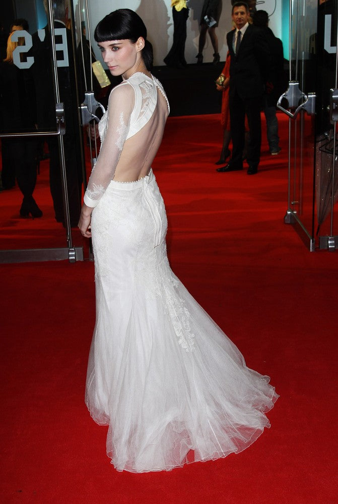 rooney mara white evening dress back