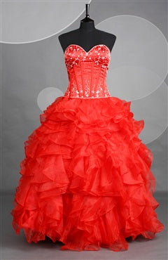 Red Sweetheart Strapless Ball Gown Floor-length Prom Dresses