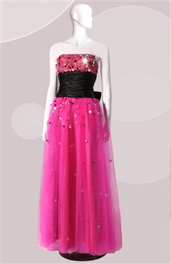 A-line Ankle-length Strapless Sleeveless Prom Dresses