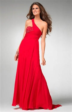 One Shoulder A-line Floor-length Sleeveless Prom Dress