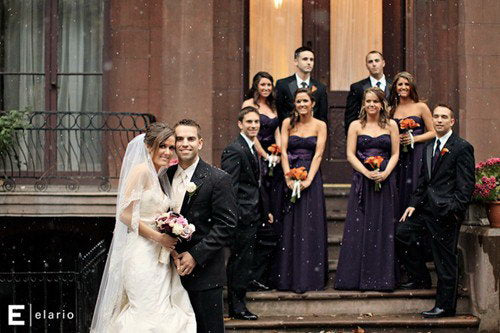 purple bridesmaid dresses in a winter wedding