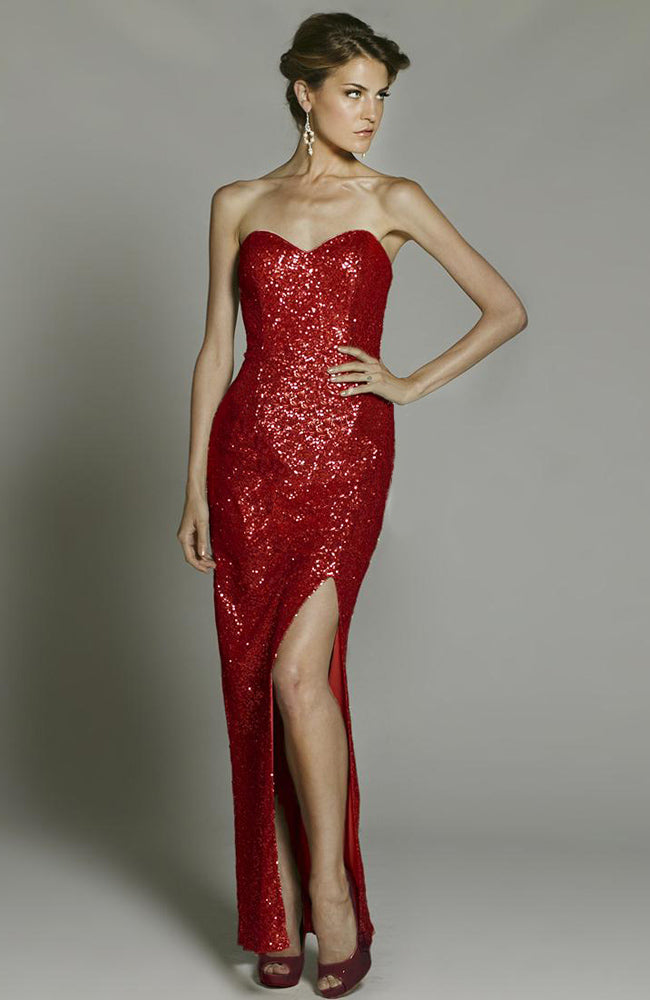 Sequins Sweetheart Neckline Thigh Slit Evening Dress Style Code: 15452 On sale $130.90