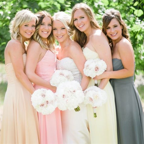 mismatching bridesmaid dresses with same style dress