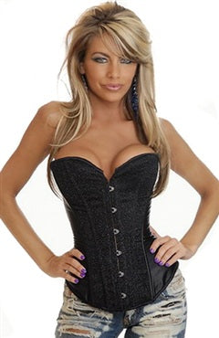 Satin Black Upper Torso Corsets Sexy Lingerie, Style Code: 07295, US$18.99