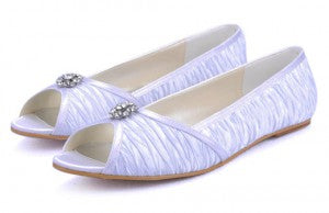 Pleated Jewelry Peep Toe Flat Style Code: 08270