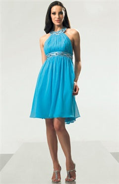 Blues Chiffon Short A-line Jewel Short Prom Dresses
