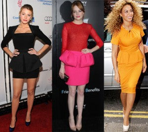 stars in peplum cocktail dresses