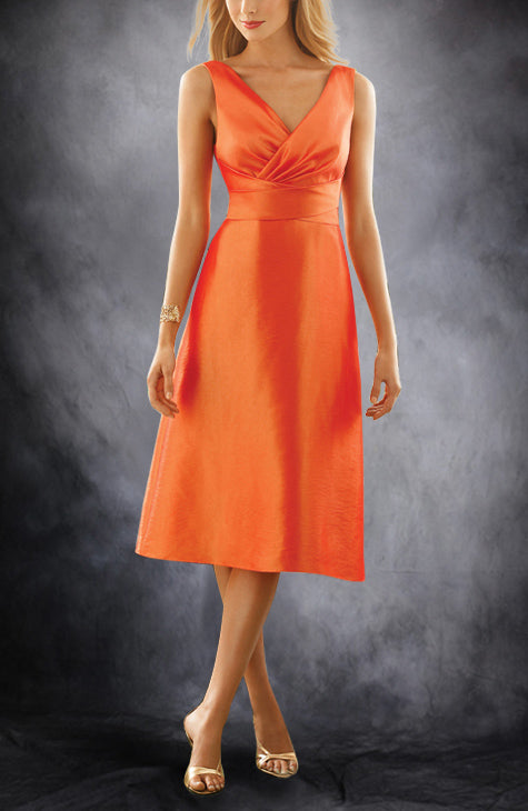 A-line V-neck Bridesmaid Dress with Ruffles, Style Code: 01587, US$74.00