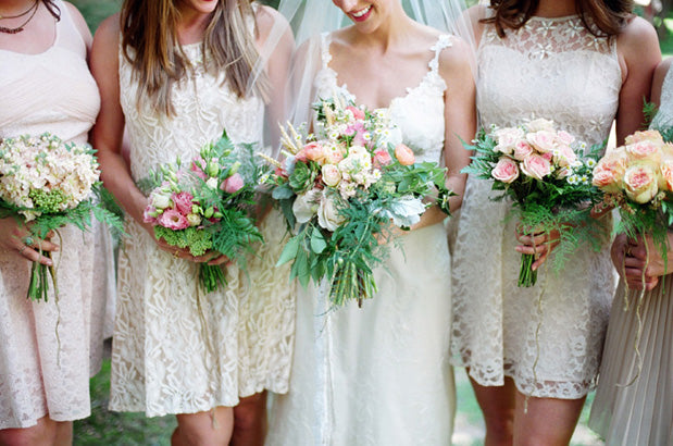 textured florals bridesmaid dresses