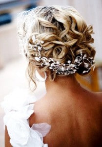 traditional curled bridal updo