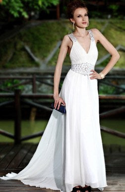 Sleeveless A-line White Sweep/ Brush Train Ruffles White Evening Dresses