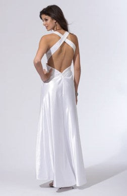 white beaded cross strap white evening dresses