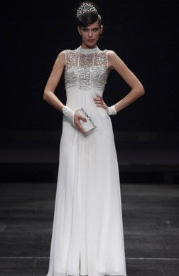 White Sheath High Neck Floor-length Beading White Evening Dresses