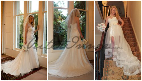 [Two In One Wedding Dress] Lace Slinky Dress With Tiered Tulle Overskirt Style Code: 10949 $225