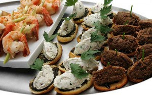 wedding canapes are nice and low cost | money saving wedding tips