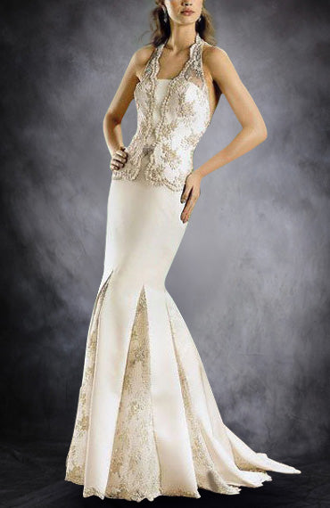 Halter Mermaid Box Pleated Skirt Wedding Dress, Style Code: 00531, $214