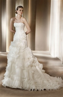 Strapless Sheath Organza Wedding Dress With Ruffles, Style Code: 05030, US$299.00