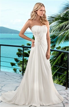 A-line Applique Beaded Gathered Waist Wedding Gown, Style Code: 05908, US$118.15