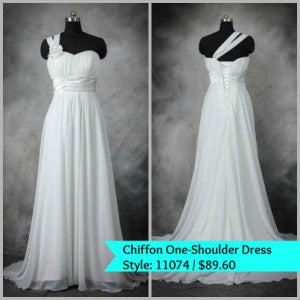 chiffon one shoulder wedding dress 11074