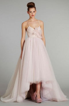 Pink Spaghetti Straps Asymmetrical Hem Wedding Dress, Style Code: 08964, US$215.00