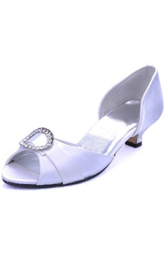 White Low Heel Closed Back Wedding Shoes, Style Code: 09081, US$56.32
