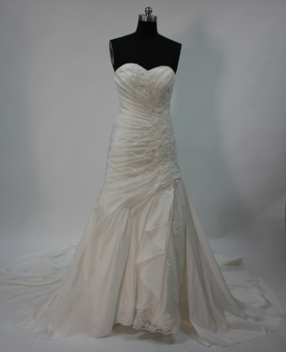 Ivory A-line Court Train Applique Taffeta Wedding dresses front
