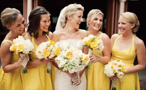 white and yellow bridal bouquets