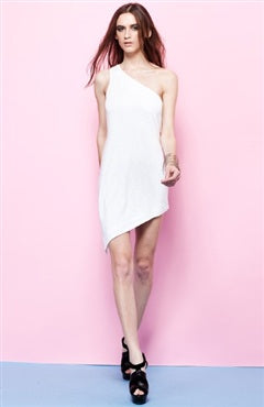 white asymmetrical sheath dress, 08608, $105