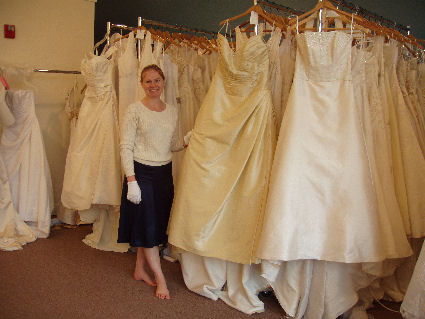 wear gloves when handling stored wedding dresses