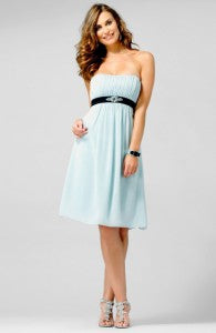 Contrast Waistband Empire Knee Length Satin Bridesmaid Dress Style Code: 14107 $142 | dresses for summer wedding guests