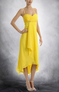Yellows A-line Spaghetti Straps Asymetrical Chiffon Cocktail Dresses Style Code: 05989 $99