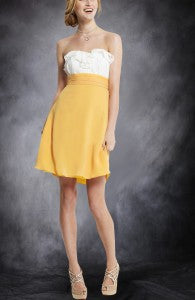Chiffon White & Yellows A-Line Strapless Knee-Length Sweetheart Bridesmaid Dresses Style Code: 07484 $79