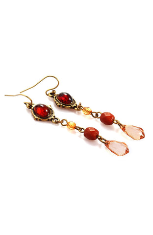 Amber Lucent Variation Gemstone Hanging Earrings