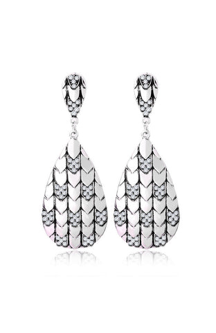 Tribal Teardrop Etched Texture Earrings image1