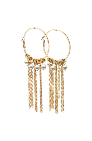 Gold Texture Pearl Rhinestone Hoop Dangle Earrings