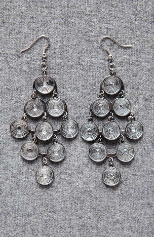 Silver Circle Eternal Dangle Drop Earrings