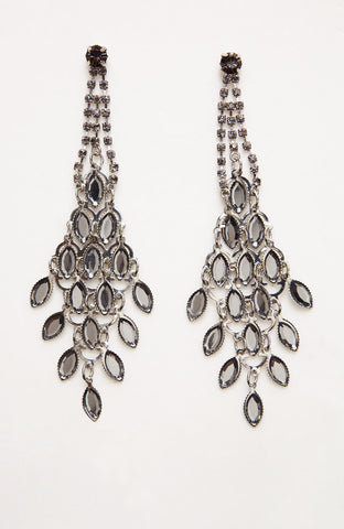 Leaf Vine Silver-tinted Hanging Earrings