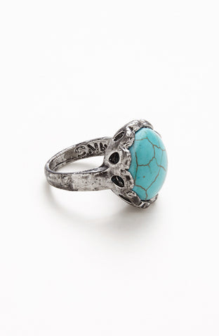 Cracked Relic Turquoise Rhinestone Crown Ring