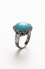 Cracked Relic Turquoise Rhinestone Crown Ring image1