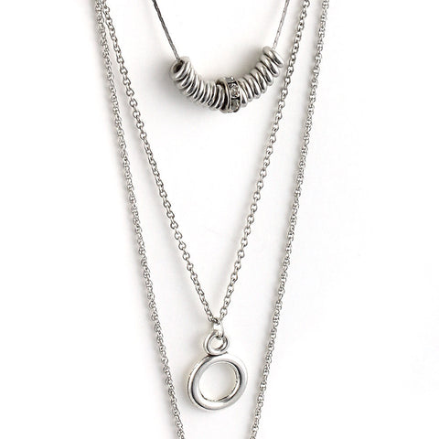Eternity Circle Triplicate Chain Pendant Necklace