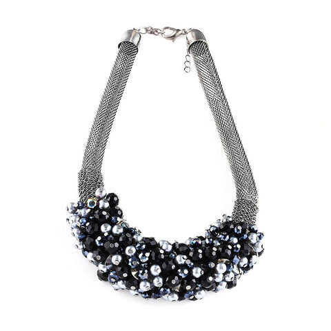 Jewel Cluster Metal Mesh Tube Choker Necklace