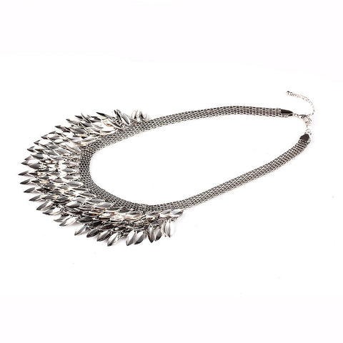 Silvery Sunflower Row Pendant Choker Necklace